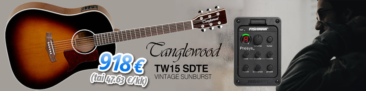 Uutuus: Tanglewood TW15 SDTE Vintage Sunburst - 918 € (tai alkaen 47.63 eur/kk)