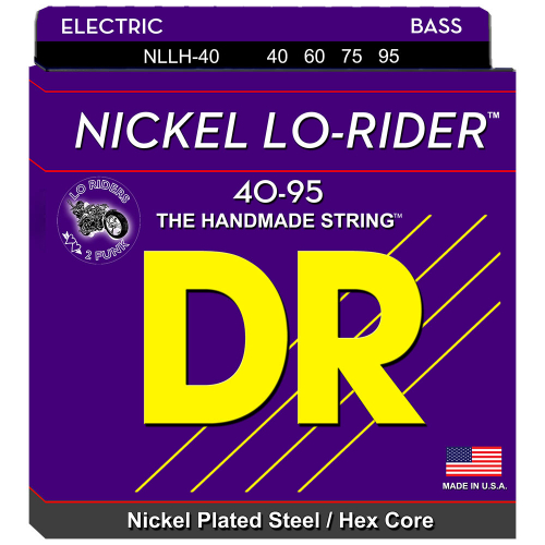 DR Strings Nickel Lo-Rider NLLH-40 (40-95) Electric Bass String Set