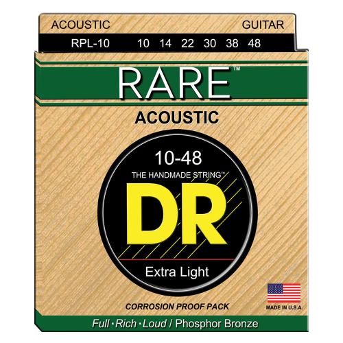 DR Strings Rare RPL-10 (10-48) Acoustic Guitar String Set