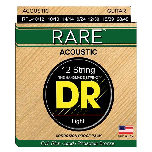 DR Strings Rare RPL-10/12 (10-48) 12-String Acoustic Guitar String Set