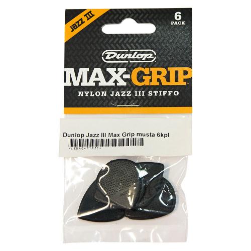 Dunlop Nylon Max-Grip Jazz III Black Stiffo Plektra 6-Pack