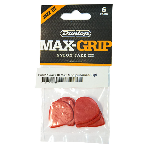 Dunlop Nylon Max-Grip Jazz III Red Plektra 6-Pack