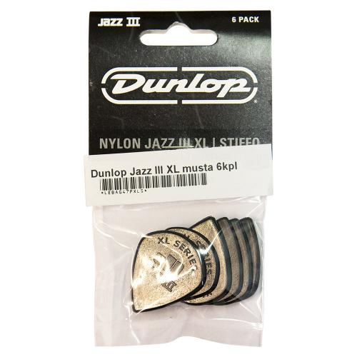Dunlop Nylon Jazz III XL Black Stiffo Plektra 6-Pack
