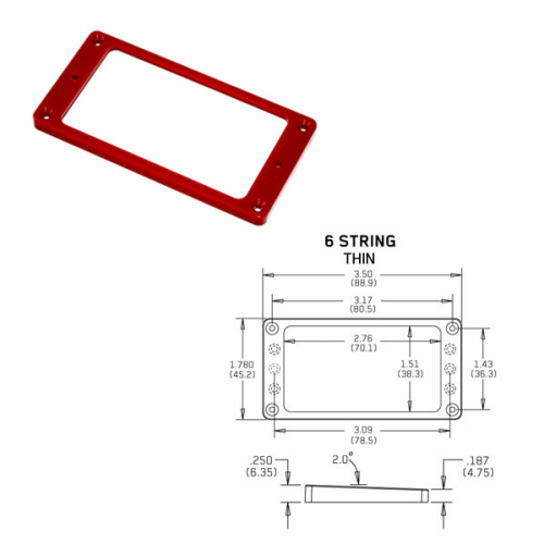 EMG Tapered 6 Thin Red Pickup Ring