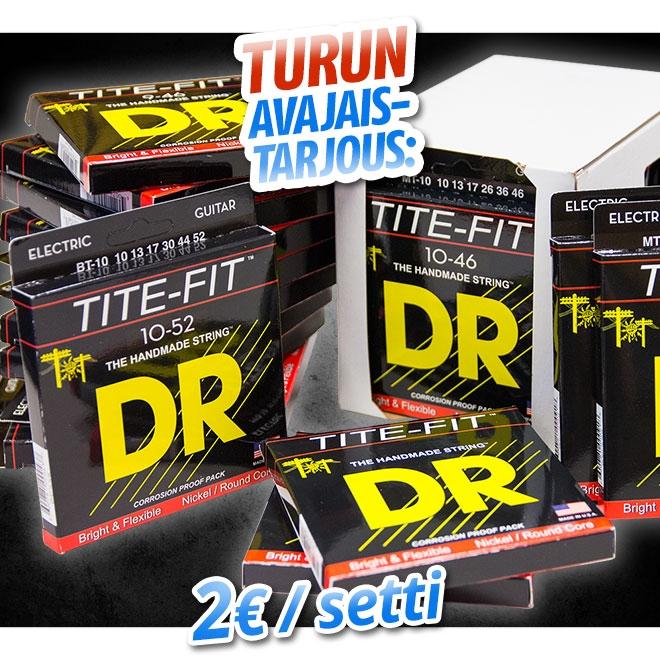 Turun avajaistarjous: DR Strings Tite-Fit setit 2eur/kpl