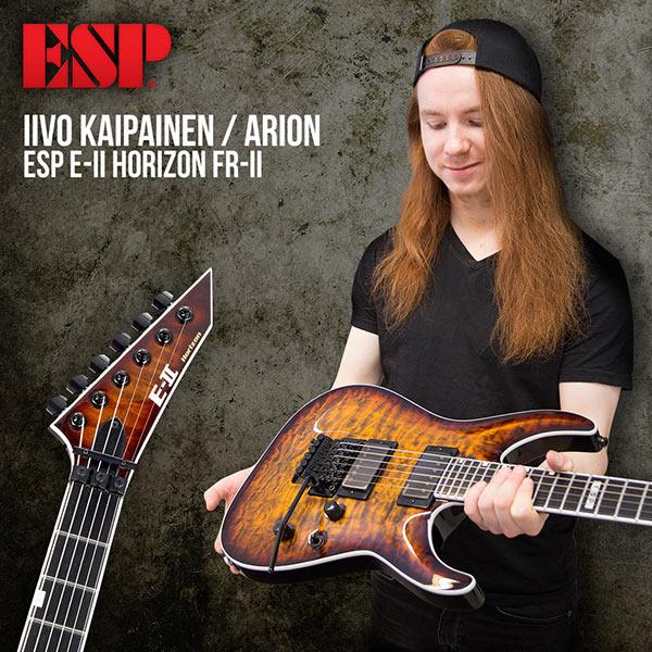 Iivo Kaipainen (Arion) ja uusi ESP E-II Horizon FR-II Tiger Eye Sunburst